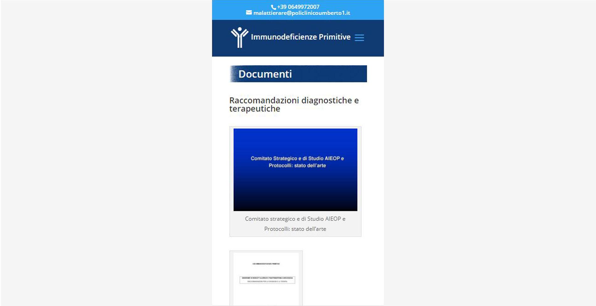 Sito web Immunodeficienze primitive modalità smartphone