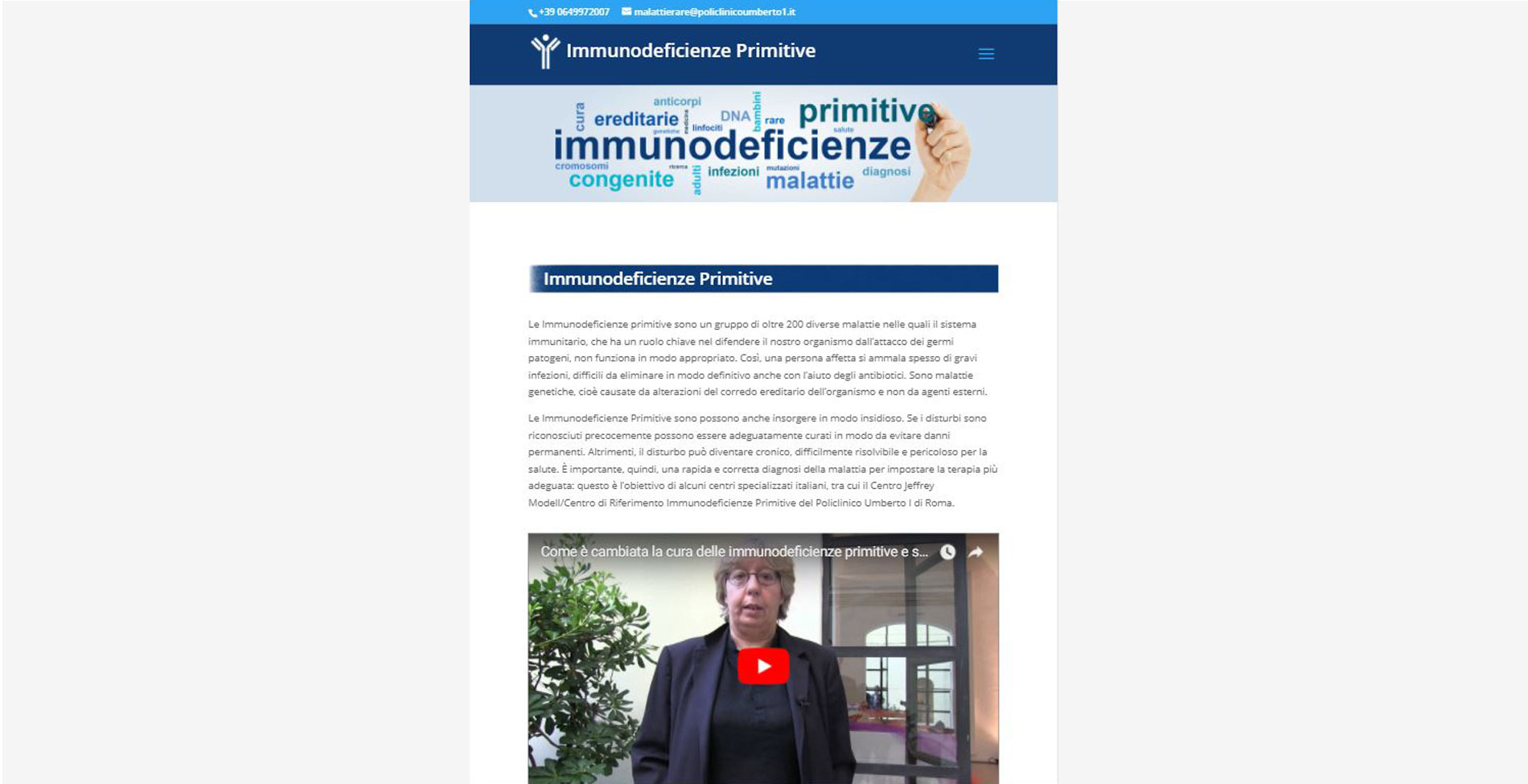 Sito web Immunodeficienze modalità tablet