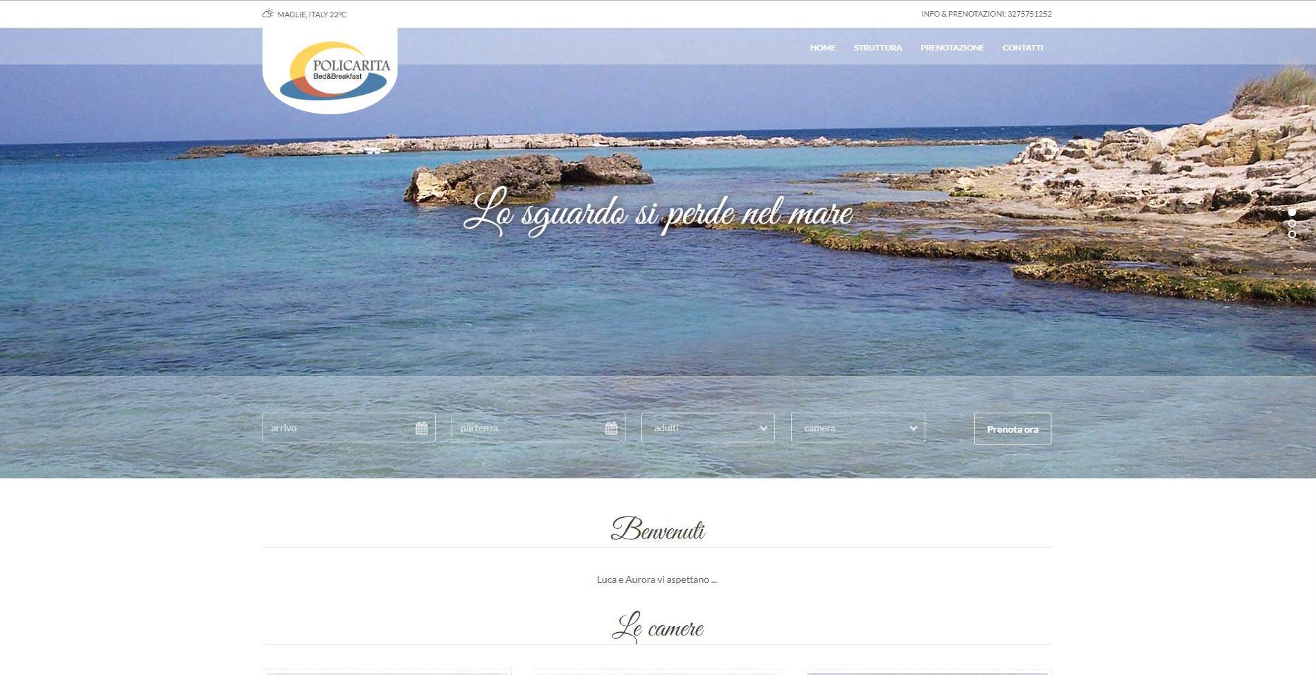 Home page sito web B&B Policarita
