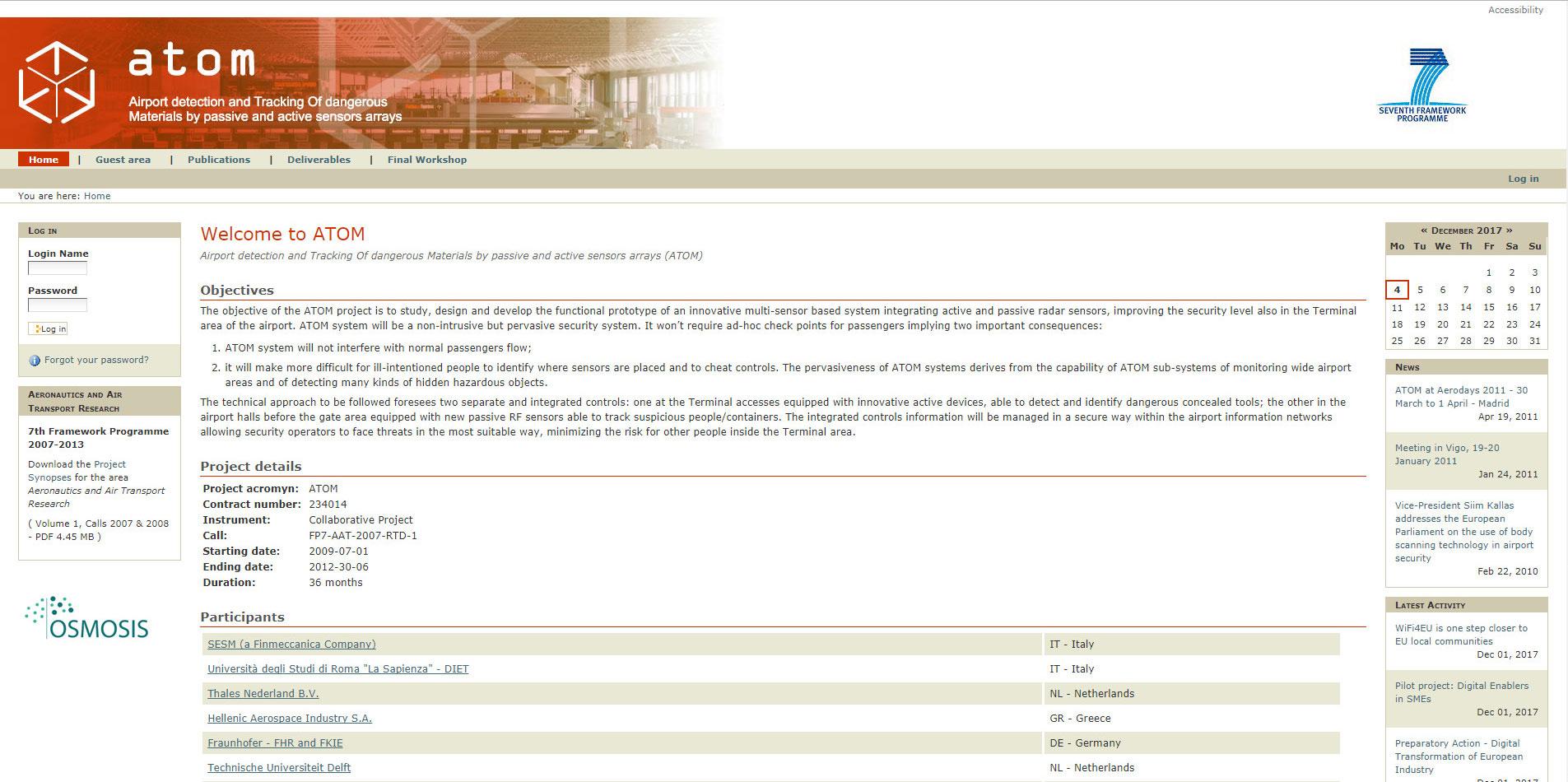 Home page Sito web Progetto Atom