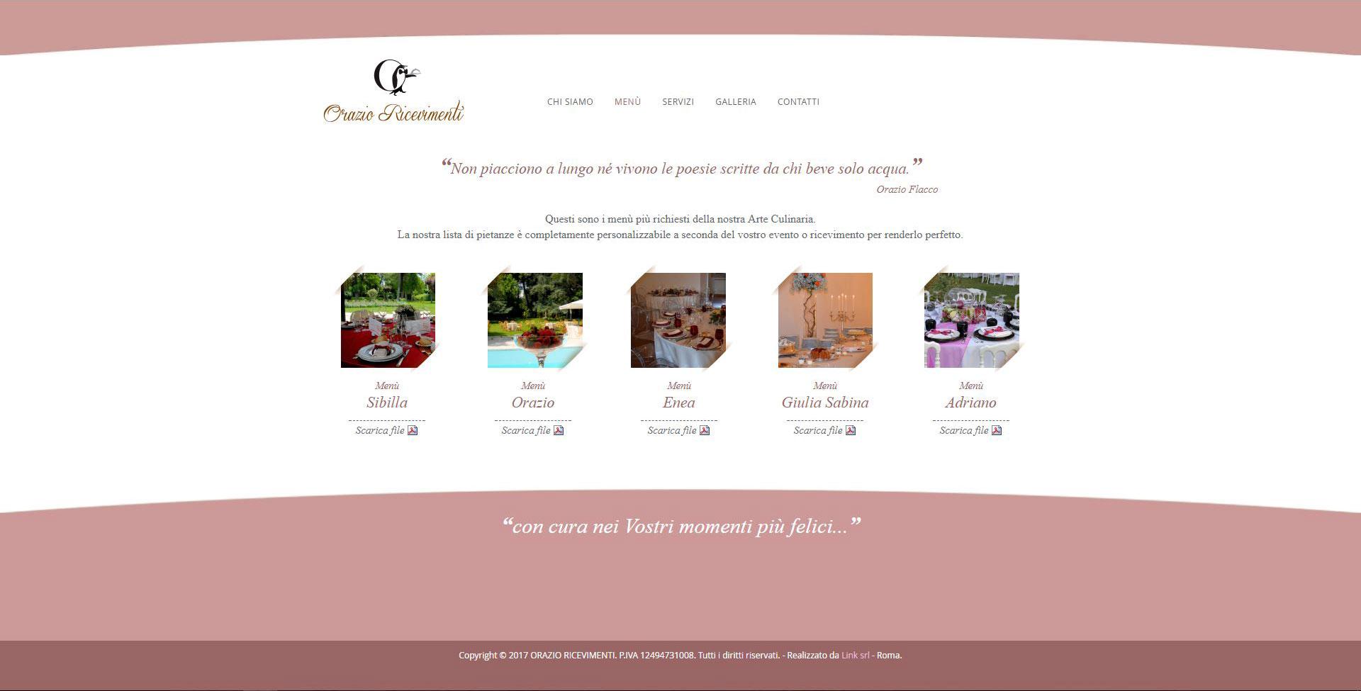 Pagina dei menù Sito web Orazio Ricevimenti