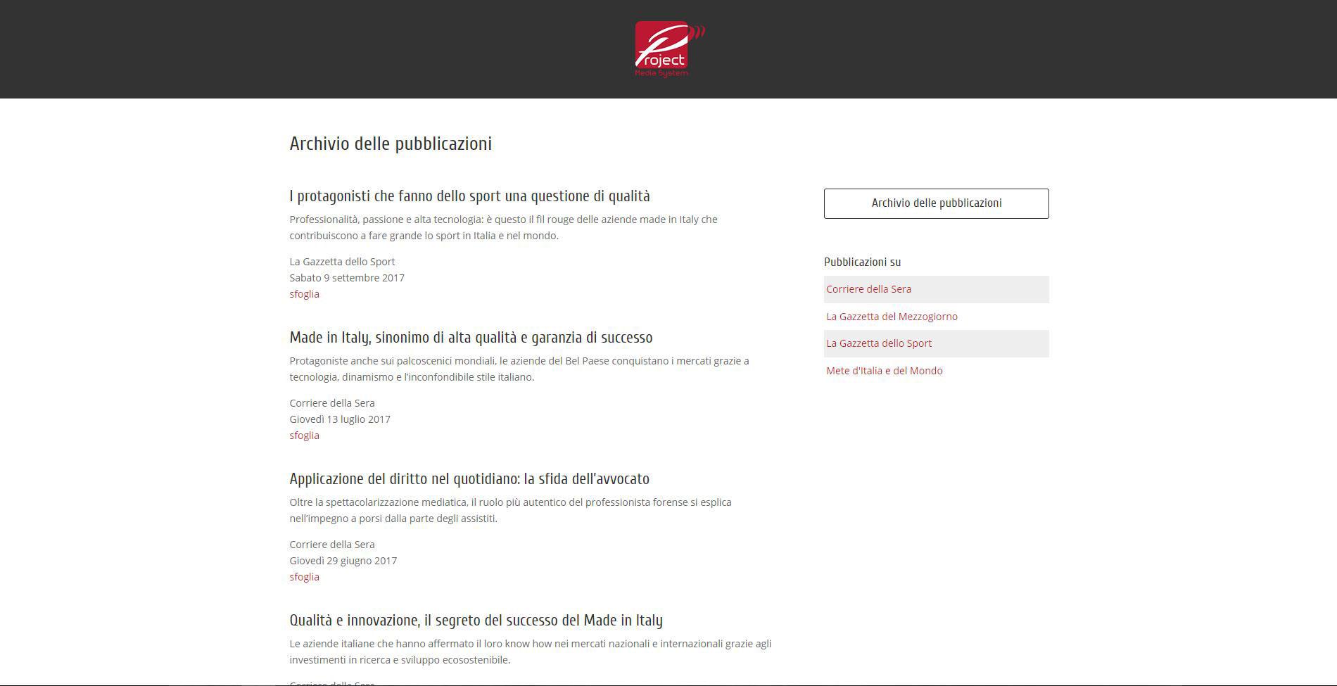 Archivio pubblicazioni Sito web PMS Italia